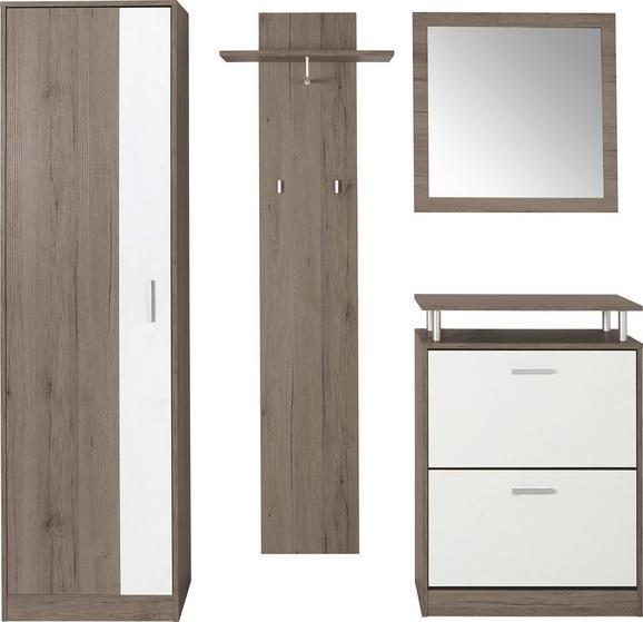 Előszoba Fal Pop - barna/fehér, modern, üveg/faanyagok (179/190/32cm)