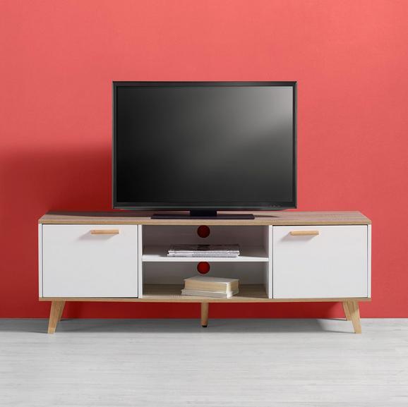 TV-möbel Claire - Eichefarben/Weiß, MODERN, Holz (144/50/42cm) - Modern Living