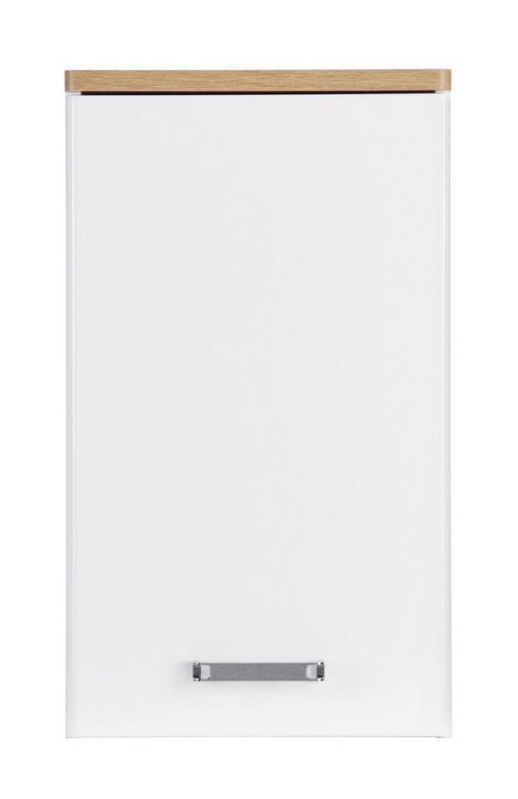 Oberschrank Weiß/Eichefarben - Chromfarben/Eichefarben, MODERN, Holzwerkstoff/Metall (40/69/22cm)