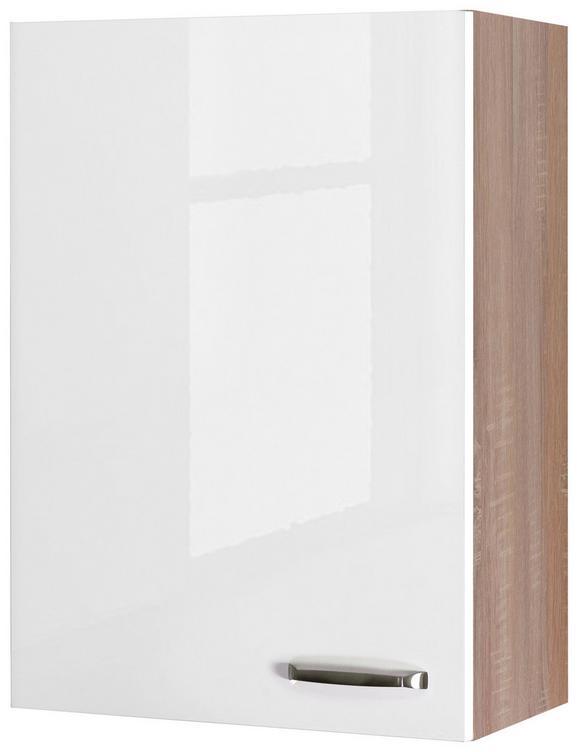 Küchenoberschrank Weiß Hochglanz/eiche - Edelstahlfarben/Eichefarben, MODERN, Holzwerkstoff/Metall (60/89/32cm)