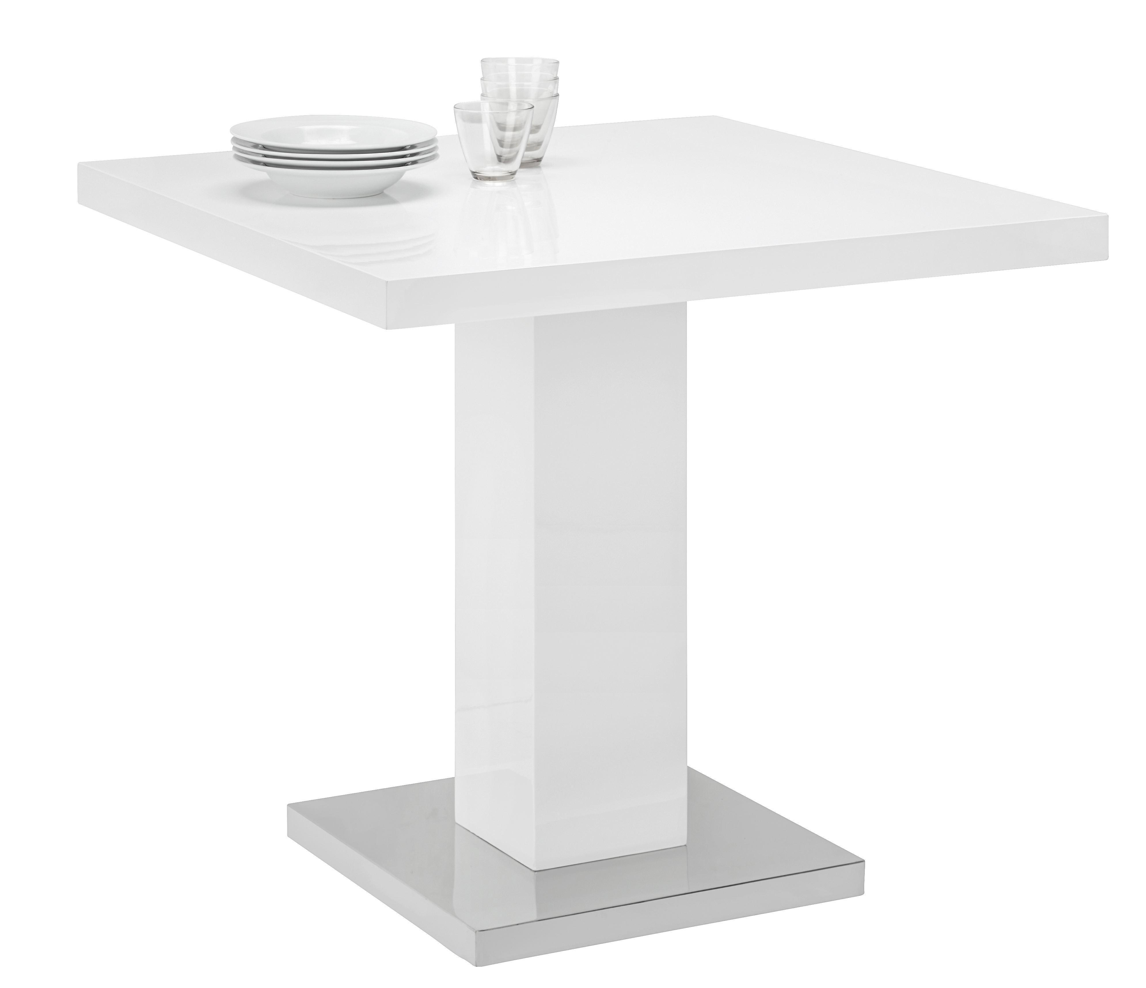Esstisch in Weiß/Chrom - Chromfarben/Weiß, MODERN, Holzwerkstoff/Metall (80/75/80cm) - PREMIUM LIVING