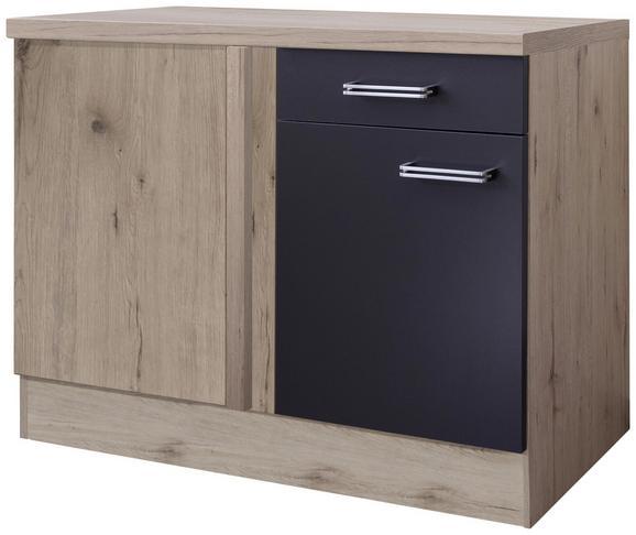 Kotna Spodnja Omarica Milano - hrast/antracit, Moderno, kovina/leseni material (110/86/60cm)