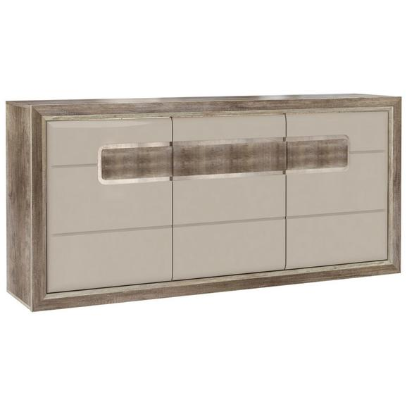 Bufet Tiziano - bej/culoare lemn stejar, Modern, plastic/sticlă (193,8/91,4/43,5cm)