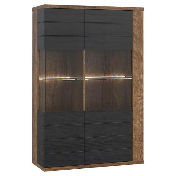 Vitrină Lacjum - culoare lemn stejar/negru, Modern, plastic/sticlă (101,8/155,5/41,6cm)