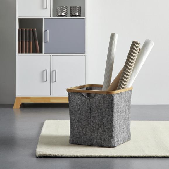 Aufbewahrungsbox in Grau 'Bamboo' ca. 33x33x33 cm - Grau, MODERN, Holz/Textil (33/33/33cm) - Bessagi Home