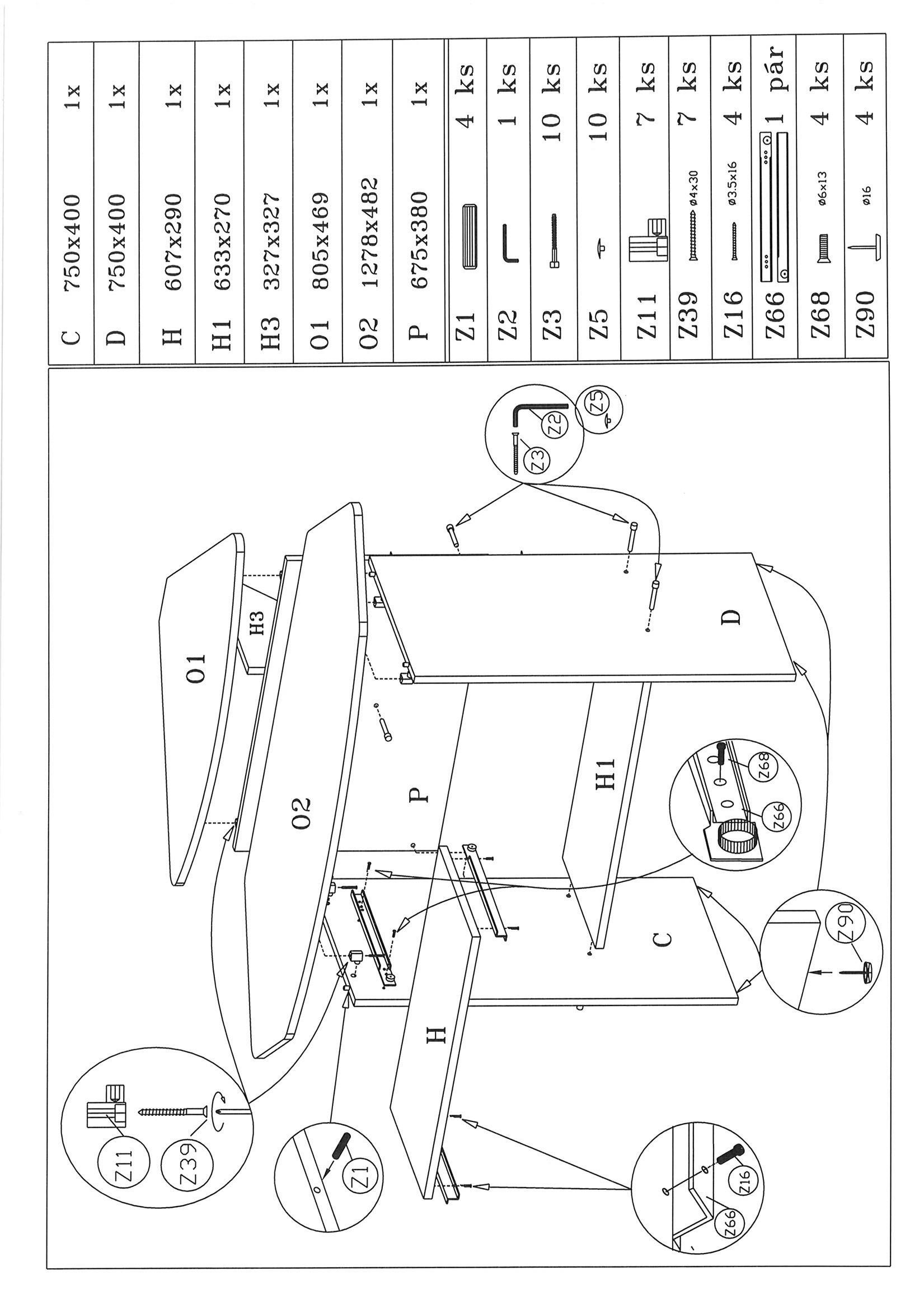 Íróasztal Petrik - tölgy színű, modern, fa (92/83.5/92cm)