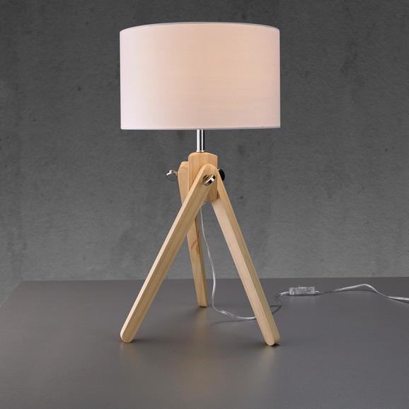 Tischleuchte Finlay - Weiß/Kieferfarben, MODERN, Holz/Textil (30/30/57cm) - Mömax modern living