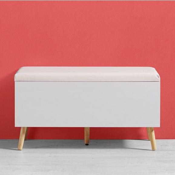 Truhenbank Claire mit Stauraum - Naturfarben/Weiß, MODERN, Holz (90/48/38cm) - Bessagi Home