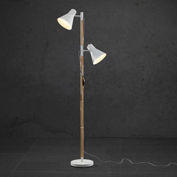 Stehleuchte Vassili 2-flammig - Braun/Weiß, MODERN, Holz/Metall (30/23/152cm) - Modern Living