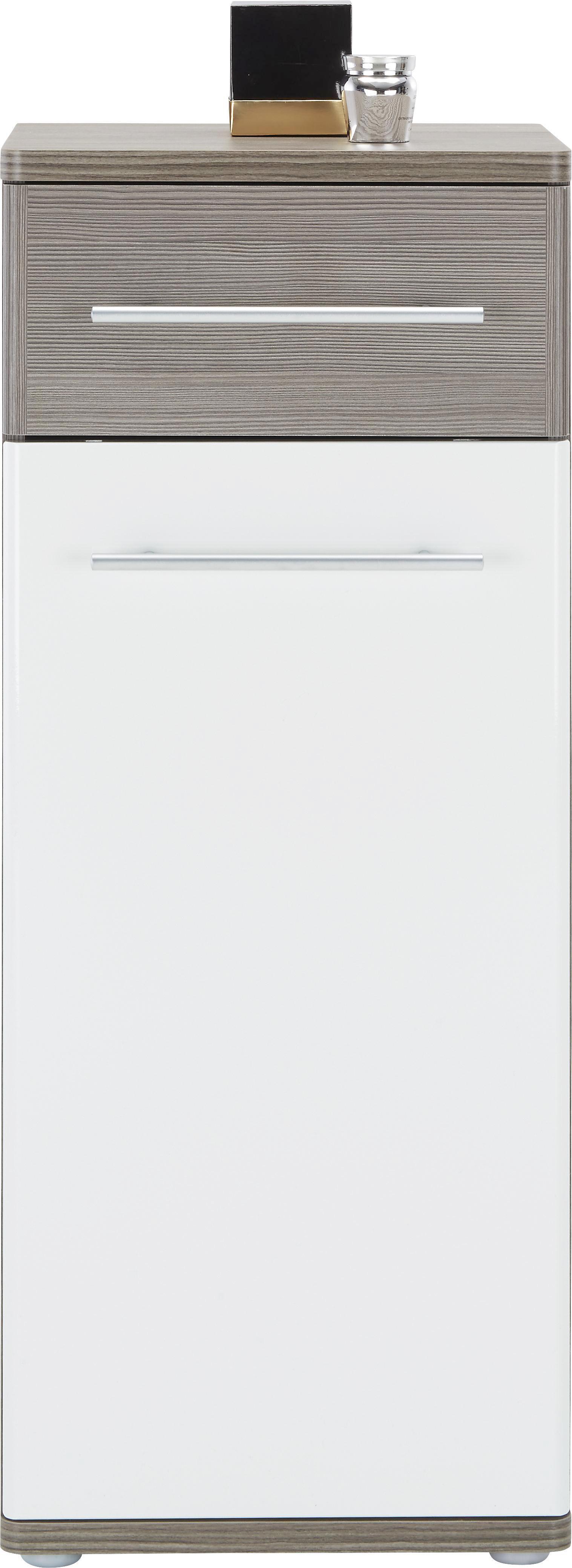 Unterschrank in Braun/Weiß - Dunkelbraun/Alufarben, KONVENTIONELL, Holzwerkstoff/Kunststoff (40/99/35cm) - PREMIUM LIVING