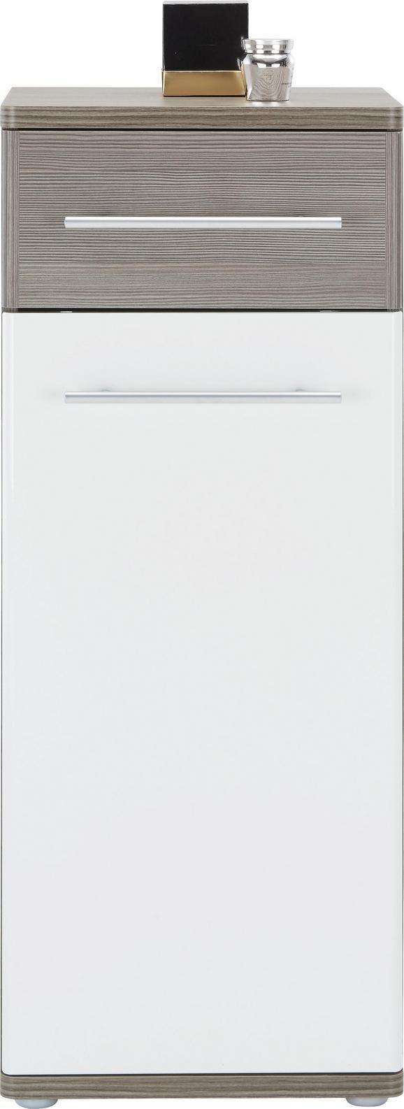 Unterschrank Weiß Hochglanz/braun - Dunkelbraun/Alufarben, KONVENTIONELL, Holzwerkstoff/Kunststoff (40 99 35cm) - Premium Living