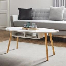 Couchtisch in Pinienfarben/ Weiß ca.100x50cm 'Silvio' - Weiß/Pinienfarben, MODERN, Holz/Holzwerkstoff (100/50/42,5cm) - Bessagi Home