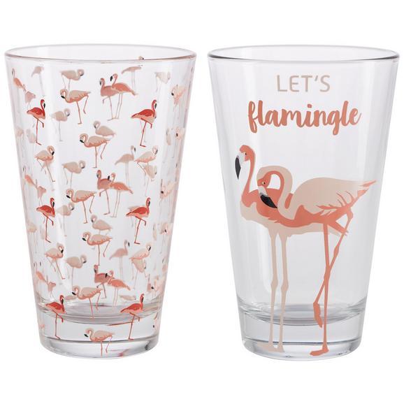 Trinkglas Flamingo Couple ca. 300ml - Klar/Schwarz, LIFESTYLE, Glas (8/12,4cm) - Mömax modern living