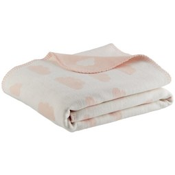Babydecke Wölkchen Rosa ca. 75x100cm - Rosa, Trend, Textil (75/100cm) - Premium Living