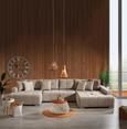 Wohnlandschaft mit Bettfunktion - Chromfarben/Beige, MODERN, Textil (170/411/210cm) - Modern Living