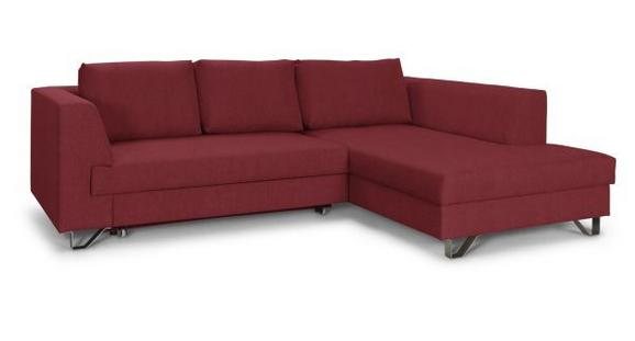 Wohnlandschaft mit Bettfunktion - Rot/Silberfarben, MODERN, Textil/Metall (280/196cm)