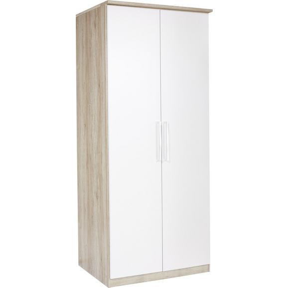 Dulap De Haine Wien - alb/culoare lemn stejar, Konventionell, compozit lemnos (91/212/56cm)