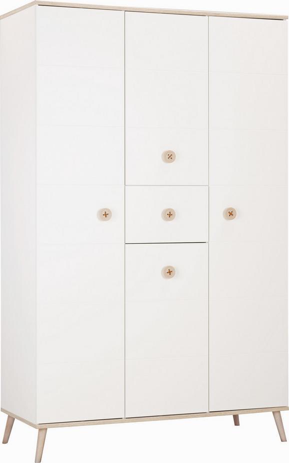 Omara Za Oblačila Billund - bela/hrast, Moderno, leseni material/les (125/202/55cm) - MODERN LIVING