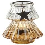 Teelichthalter in Orange Ø/H: ca. 11/10 cm 'Malva' - Klar/Silberfarben, MODERN, Glas/Metall (11/10cm) - Bessagi Home