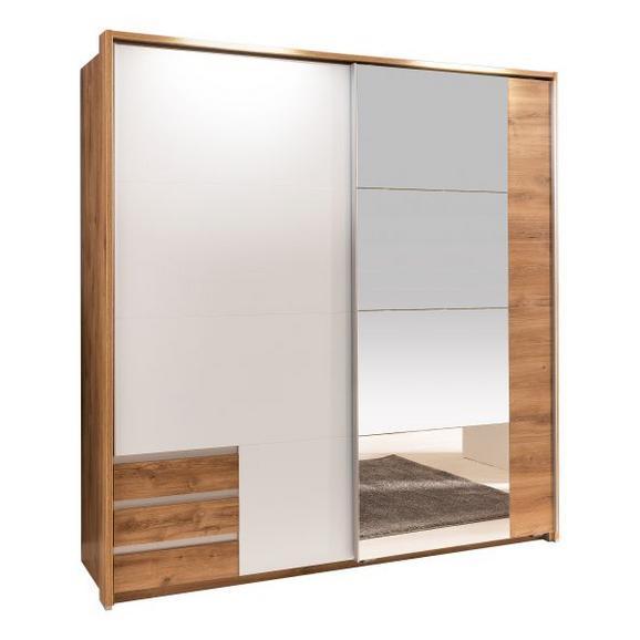 Schwebetrüenschrank in Eichefarben mit Spiegel - Eichefarben/Weiß, MODERN, Holzwerkstoff (180/198/64cm) - Modern Living