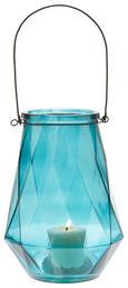 Windlicht Dara - Blau/Schwarz, MODERN, Glas/Metall (18/24cm) - Mömax modern living