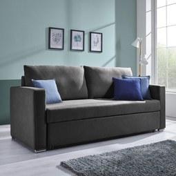 Schlafsofa Joe inkl. Rückenkissen - Dunkelgrau, MODERN, Textil/Metall (206/81/152/73cm) - MÖMAX modern living