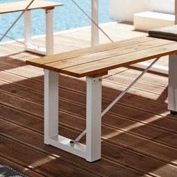 Gartenbank Leonor aus Akazienholz - Weiß/Akaziefarben, MODERN, Holz/Metall (170/43/33,5cm) - Modern Living