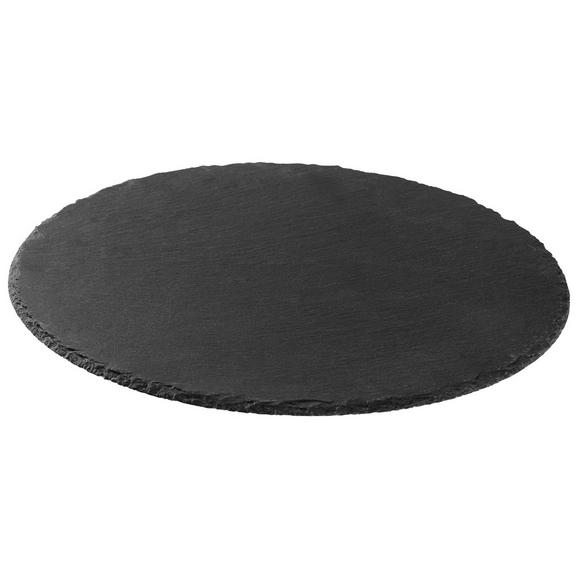 Servierplatte Stoney in Schwarz Ø ca. 40cm - Schwarz, MODERN, Kunststoff/Stein (40/0,7cm) - Zandiara