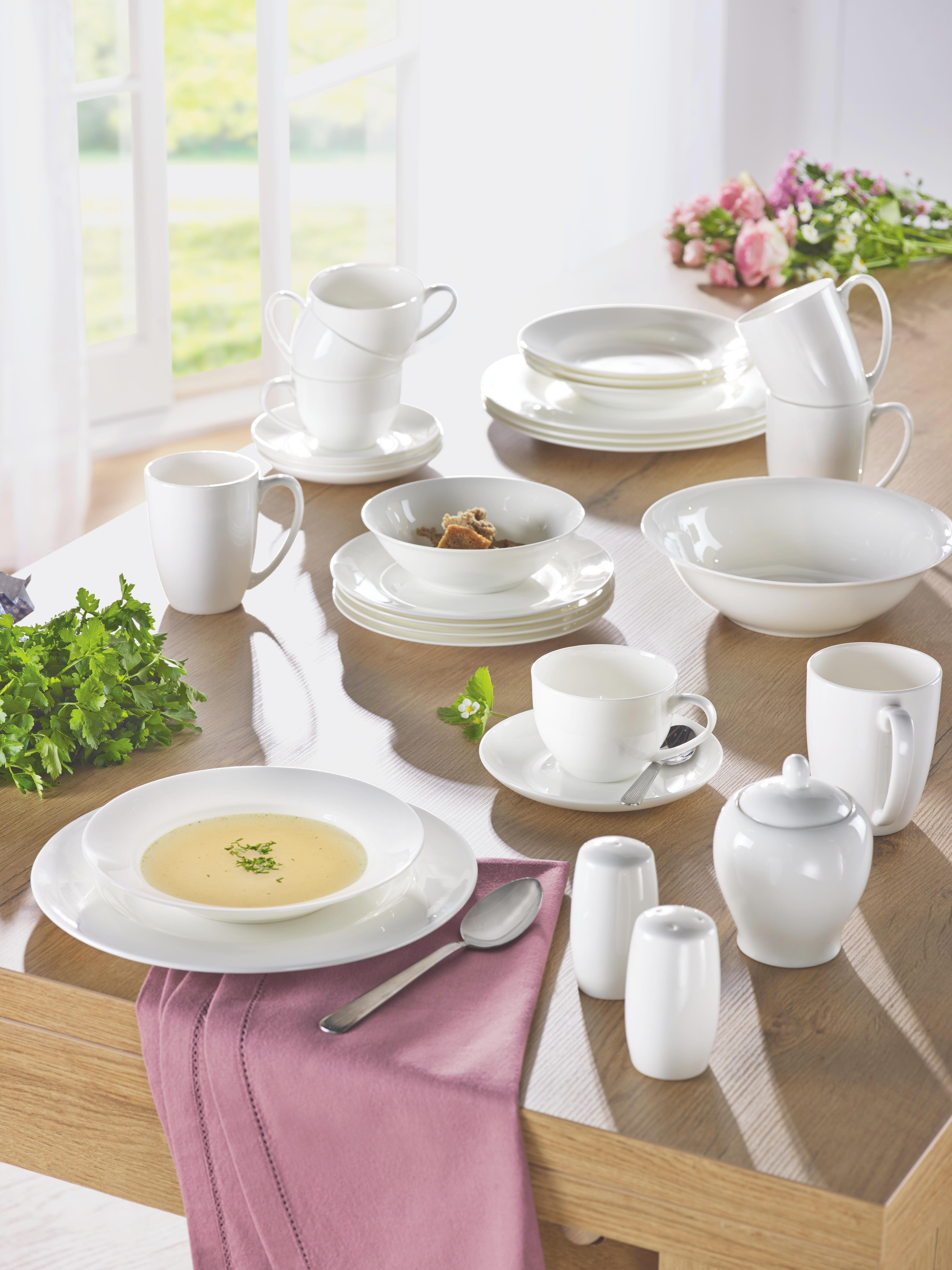 Kaffeetasse mit Untertasse Bonnie in Weiß - Weiß, MODERN, Keramik (0,28l) - MÖMAX modern living