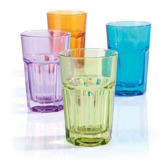 "Pahar ""mario"" - roz aprins/albastru, Konventionell, sticlă (7,7/12cm) - Modern Living"
