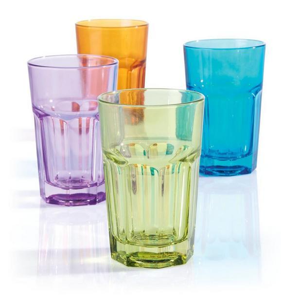 Trinkglas Mario in verschiedenen Farben - Blau/Pink, KONVENTIONELL, Glas (7,7/12cm) - MÖMAX modern living