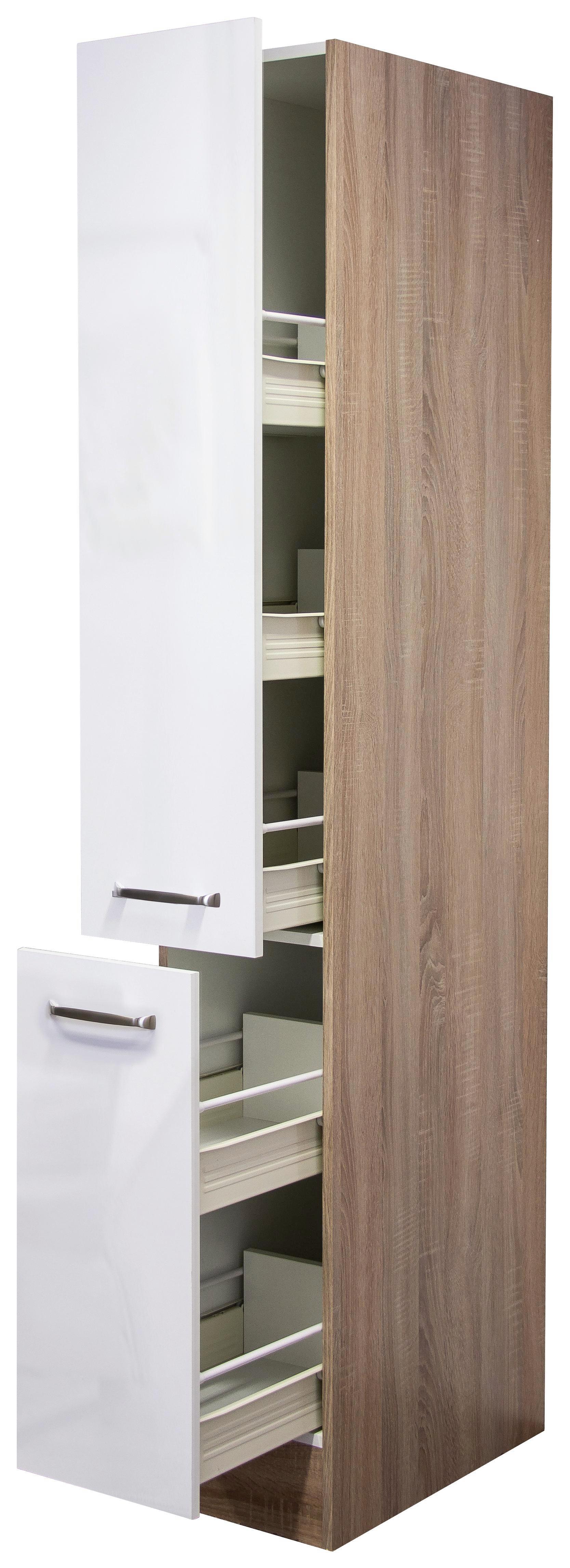 Apothekerschrank Weiß Hochglanz/eiche - Edelstahlfarben/Eichefarben, MODERN, Holzwerkstoff/Metall (30/200/57cm)