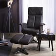 Relaxsessel in Grau mit Hocker - Chromfarben/Grau, KONVENTIONELL, Textil/Metall (81/117-100/83-116cm) - Modern Living