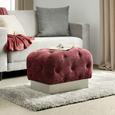 Taburet Ruby - argintiu/roșu burgund, Romantik / Landhaus, metal/textil (60/42/37cm)