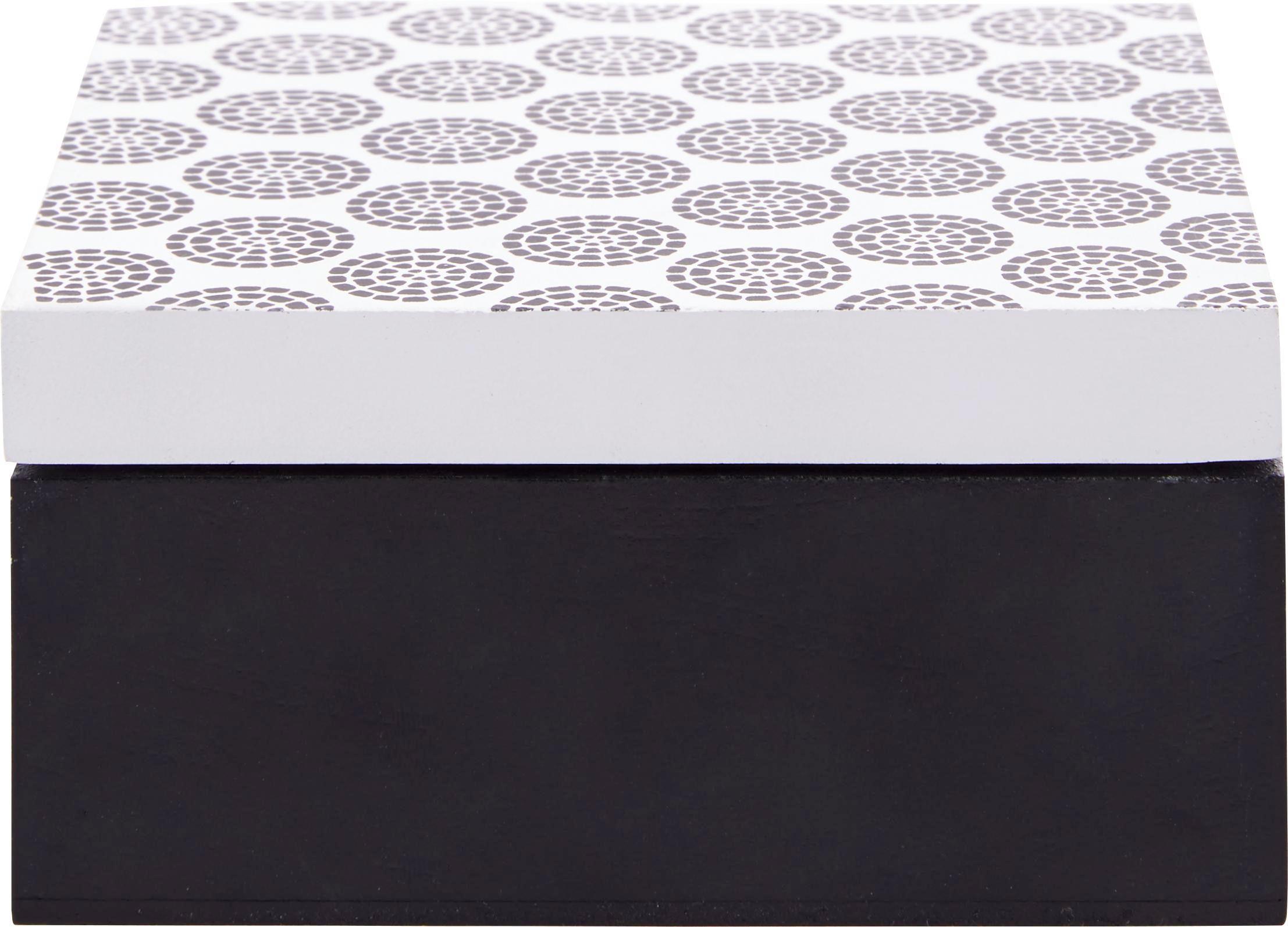 Box mit Deckel Pattern - Schwarz/Weiß, LIFESTYLE, Holz (12/12/6cm) - MÖMAX modern living