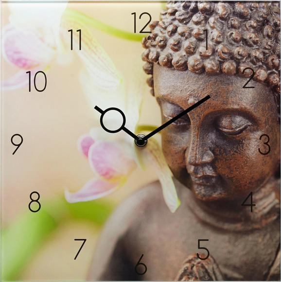 Wanduhr Timeless Buddha,ca.30x30x3,5cm - Braun/Rosa, MODERN, Glas/Metall (30/30/3,5cm) - MÖMAX modern living