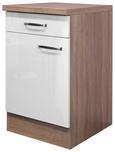 Küchenunterschrank Weiß Hochglanz/Eiche - Edelstahlfarben/Eichefarben, MODERN, Holzwerkstoff/Metall (50/86/60cm)