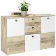 Kommode in Braun/Weiß - Schwarz/Naturfarben, MODERN, Naturmaterialien/Holzwerkstoff (120/80/38cm) - Mömax modern living