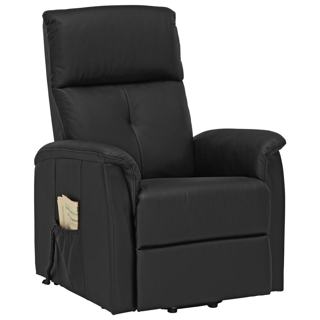 Relaxsessel in Schwarz aus Echtleder
