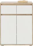 Komoda Pluto - bela/hrast sonoma, Moderno, leseni material (80/103/48cm)
