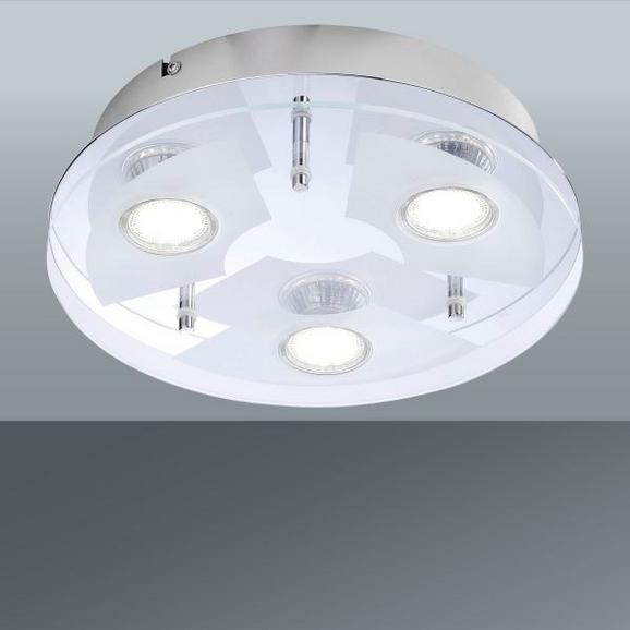 Mennyezeti Lámpa Stefan - krómszínű/fehér, konvencionális, üveg/fém (27/7cm)