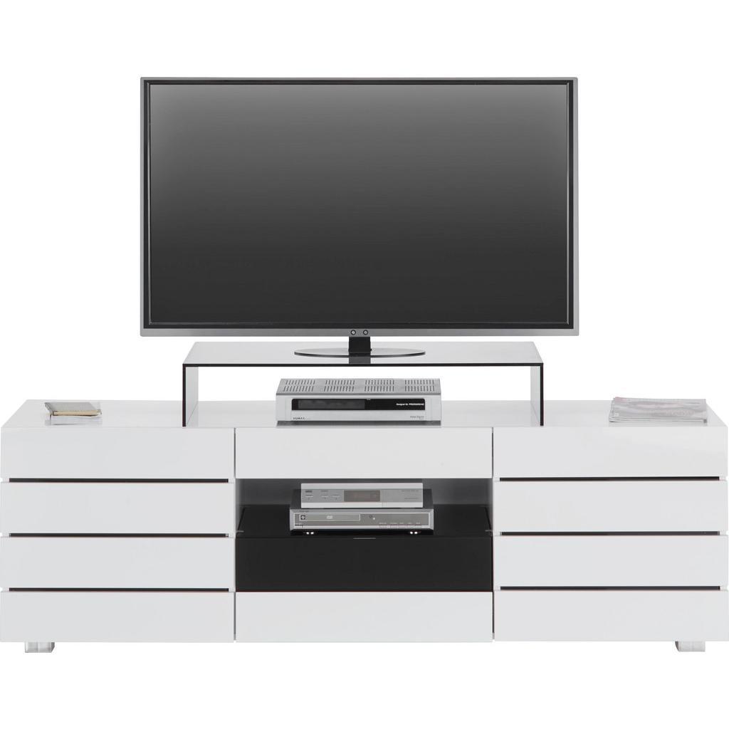 TV-Element in Weiß/Schwarz Hochglanz
