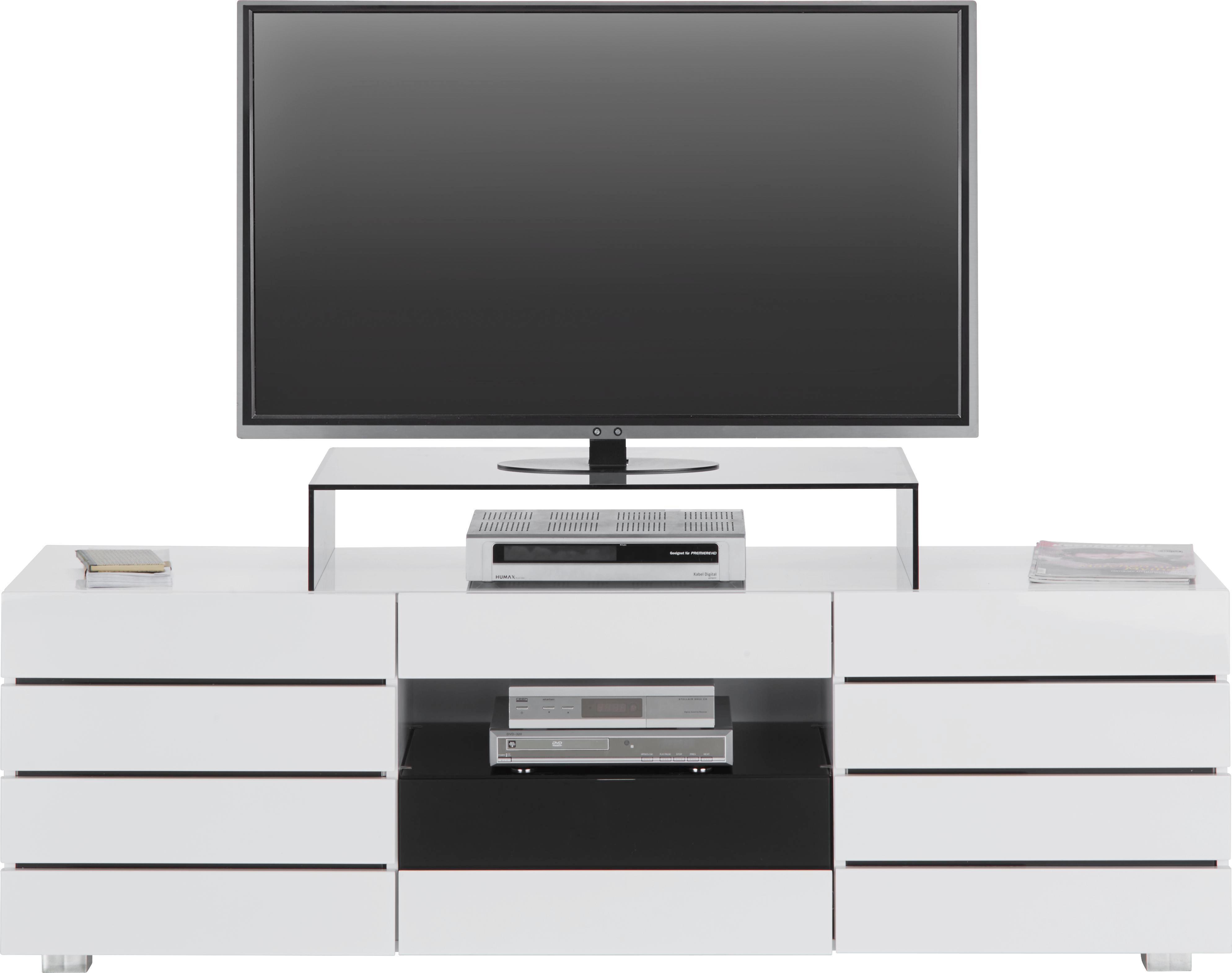 TV-Element Weiß/Schwarz Hochglanz - Schwarz/Weiß, MODERN, Glas/Holzwerkstoff (160/50/41,5cm) - MÖMAX modern living