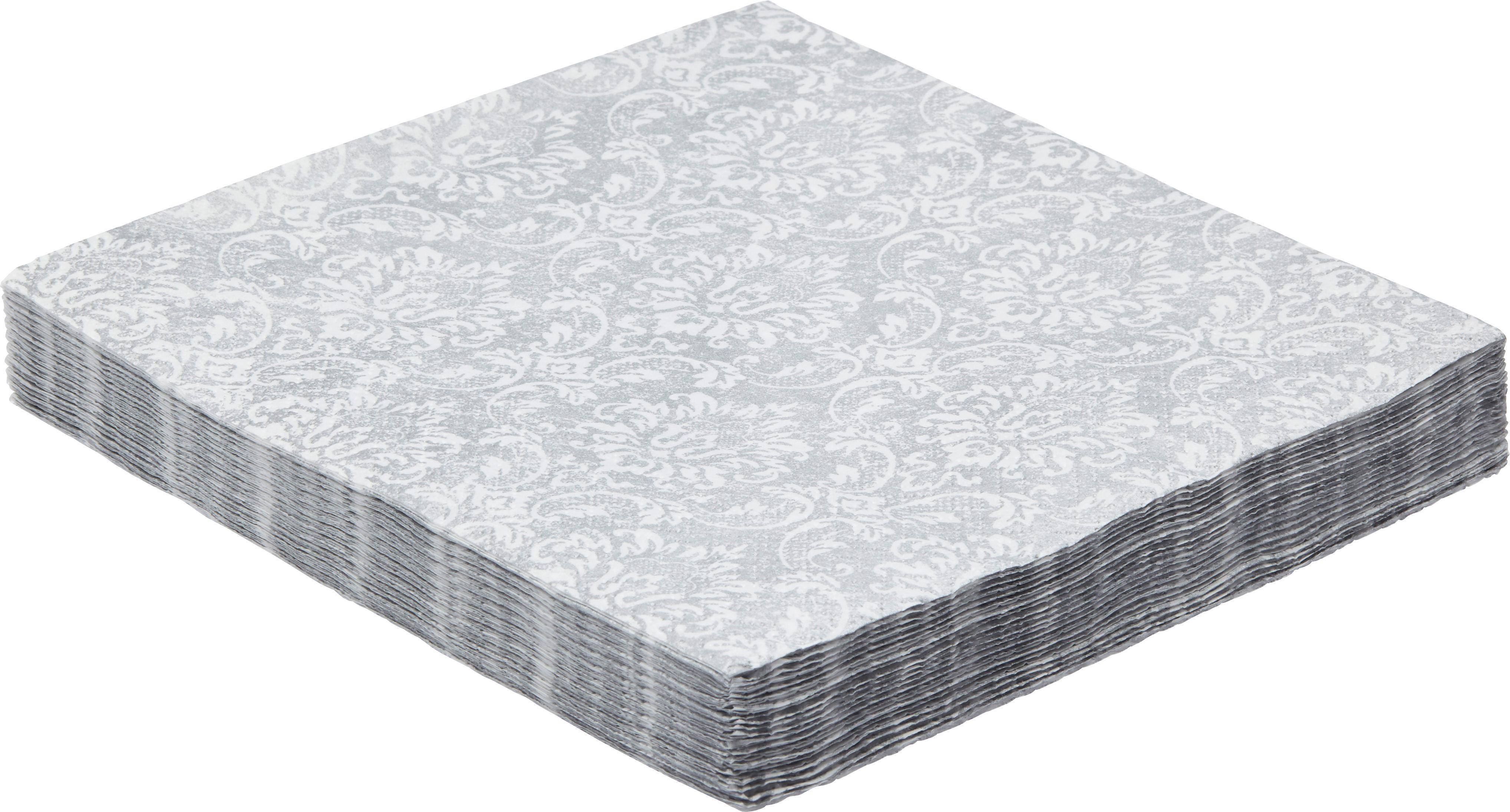 Serviette Patty aus Papier in Silber - Silberfarben/Weiß, LIFESTYLE, Papier (16,5/16,5/2,5cm) - MÖMAX modern living