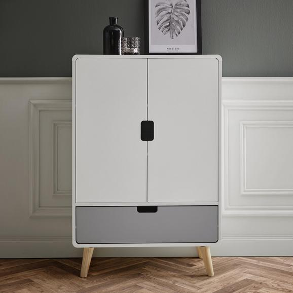 Sideboard Daniela - Weiß/Grau, MODERN, Holz (70/105/38cm) - Modern Living