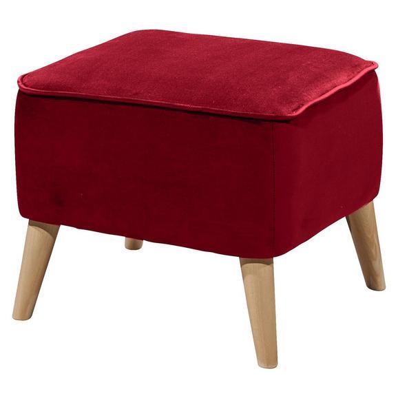 Hocker in Rot 'Milo' - Rot/Kieferfarben, Trend, Holz/Holzwerkstoff (47/36/47cm) - Livetastic