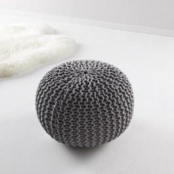 Pouf in Grau  Ø ca. 50 'Martin' - Grau, MODERN, Textil (50/50/30cm) - Bessagi Home
