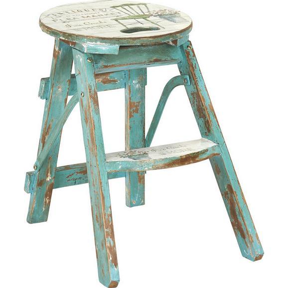 Klapphocker Step Blau/tannenholz - Türkis/Multicolor, LIFESTYLE, Holz/Holzwerkstoff (30/30/43cm) - Mömax modern living