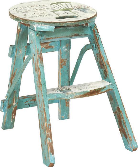 Zložljiv Tabure Step  -sb- - turkizna/bela, Trendi, leseni material/les (30/30/43cm) - Premium Living
