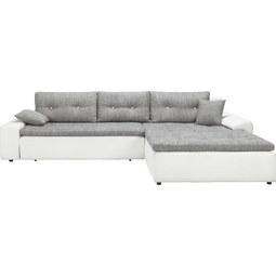 Wohnlandschaft in Grau/Weiß mit Bettfunktion - Schwarz/Weiß, KONVENTIONELL (310/211cm) - Modern Living